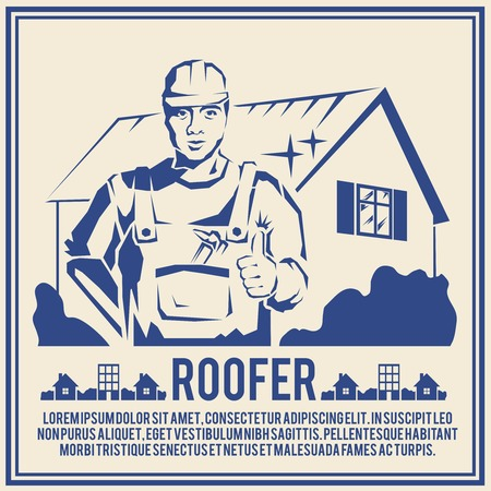 tradesman: Roofer house builder male tradesman worker silhouette poster vector illustration