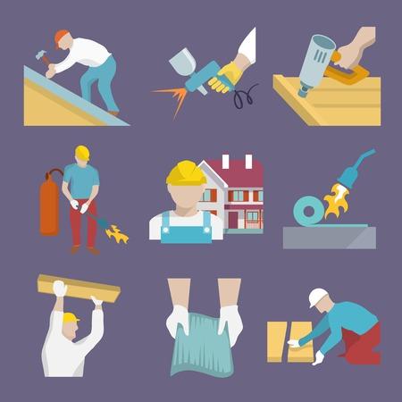 Roofer profession house improvement flat icons set isolated vector illustration Illustration