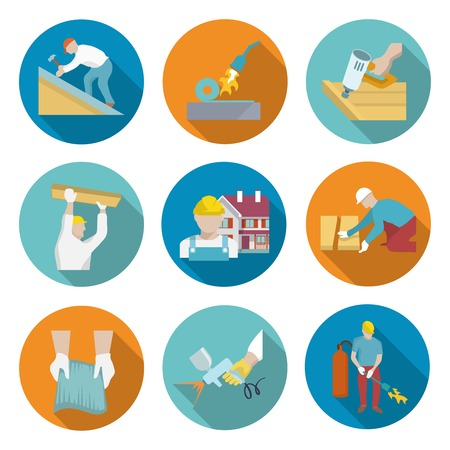 roofer: Roofer profession house improvement long shadow round button icons set isolated vector illustration Illustration