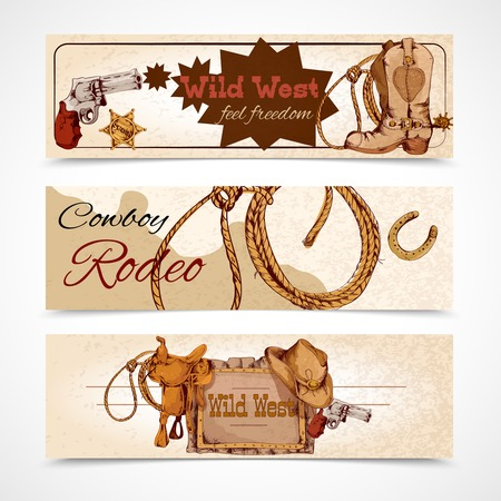 Wild west cowboy rodeo feel freedom colored banners set isolated vector illustration Vector