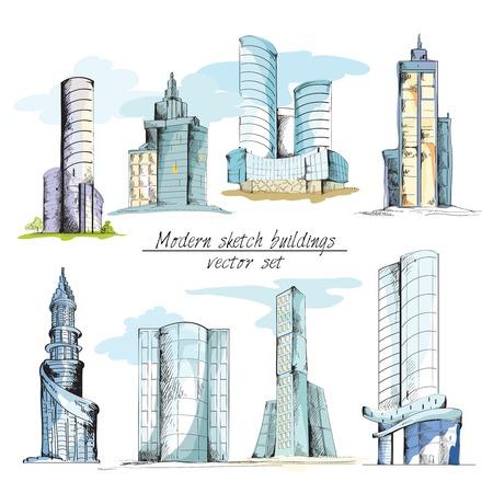 architectural elements: Edificio croquis urbano moderno con elementos arquitect�nicos aislados ilustraci�n vectorial