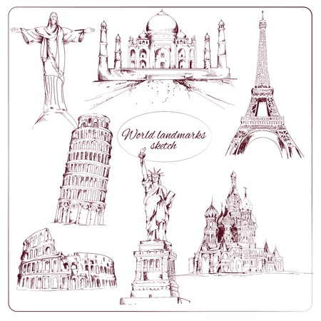 statue of liberty: World landmark sketch set of eiffel tower kremlin statue of liberty isolated vector illustration