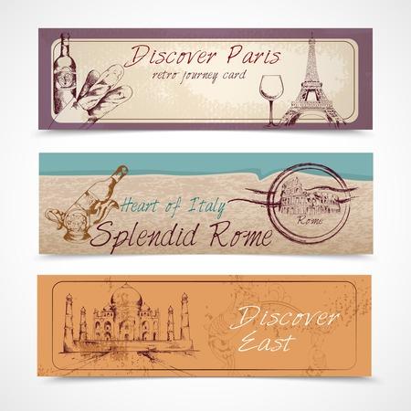 splendid: World landmark discover paris east heart of Italy splendid rome banners set isolated vector illustration