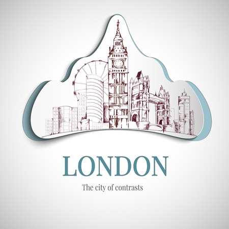 london tower bridge: London city of contrast emblem with big ben tower and bridge vector illustration. Illustration