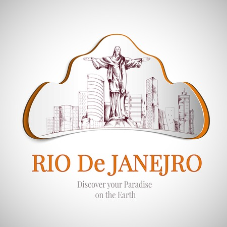 discover: Rio De Janeiro discover earth paradise city emblem with Christ the redeemer statue vector illustration Illustration