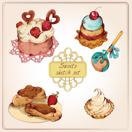 decoration objects: Food sweets bakery and pastry sketch colored set of strawberry cream cup cake isolated vector illustration