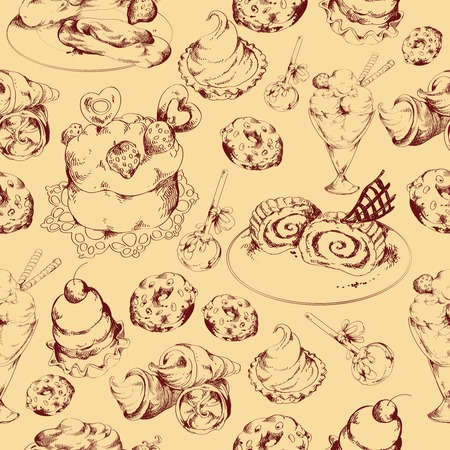 Food sweets bakery and pastry sketch seamless pattern vector illustration Vector