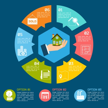 Real estate infographic set with pie chart options vector illustration Illusztráció