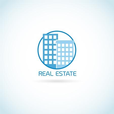 scraper: Real estate symbol skyscraper building in circle isolated on white background vector illustration