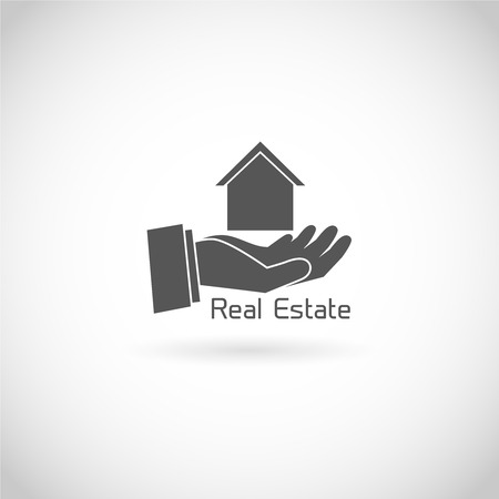 valuation: Real estate symbol human hand holding house silhouette isolated on white background vector illustration