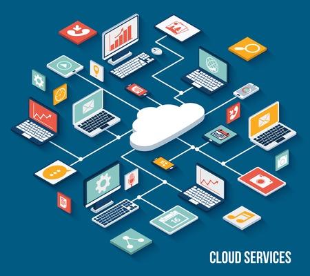 Services Mobile Smartphone nuage concept avec des touches isométriques de dépôt prévue illustration vectorielle