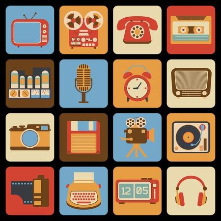 clock radio: Vintage iconos de gadgets retro conjunto de reloj despertador reproductor de radio del vinilo ilustraci�n vectorial