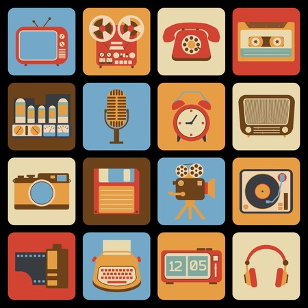 telephone receiver: Vintage retro gadgets icons set of radio vinyl player alarm clock isolated vector illustration