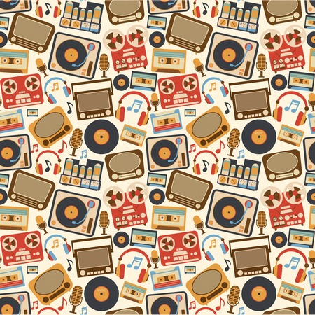 Retro music seamless pattern with vinyl player cassette recorder vintage microphone vector illustration Vector