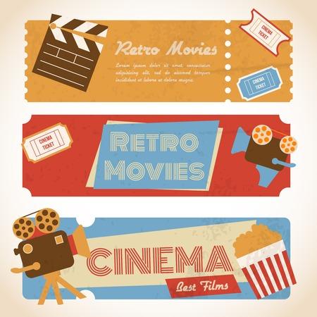 ビンテージ カメラ ポップコーン レトロ映画シネマ チケット バナー ベクトル イラスト