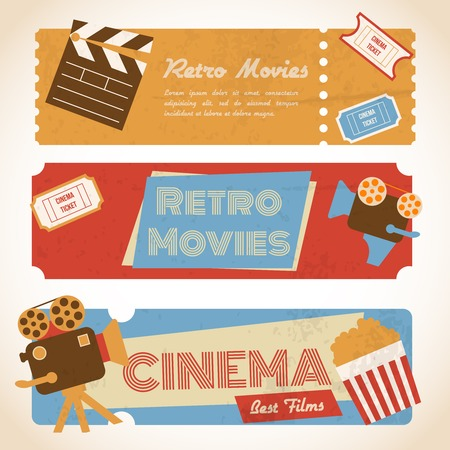 holiday movies: Retro movie cinema ticket banners with vintage camera popcorn vector illustration Illustration