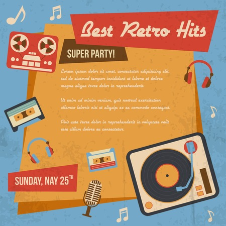 Retro music poster with vintage vinyl player headphones icons vector illustration Vector