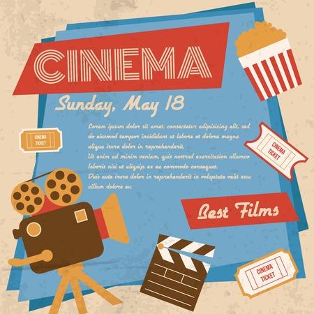 screen print: Retro film cinema annata migliore illustrazione vettoriale film manifesto Vettoriali