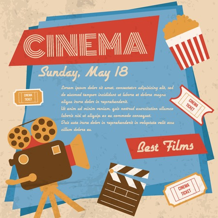 movie screen: Retro movie cinema vintage best films poster vector illustration Illustration