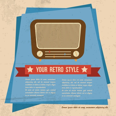 tuner: Retro style badge poster with old radio music shortwave tuner vector illustration Illustration