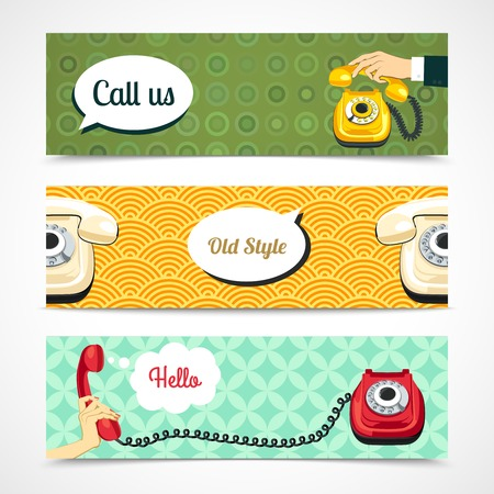 telephone cable: Hand holding old telephone retro banners horizontal isolated vector illustration