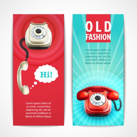 antique telephone: Old fashion telephone retro technology banners horizontal isolated vector illustration