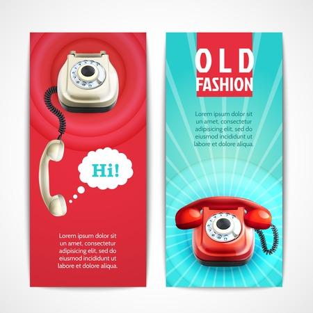 cable telefono: Viejas banderas retro tecnolog�a tel�fono de moda aislado horizontal ilustraci�n vectorial