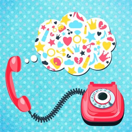cable telefono: Teléfono viejo alambre retro con el habla charla burbuja comunicación concepto de ilustración vectorial.