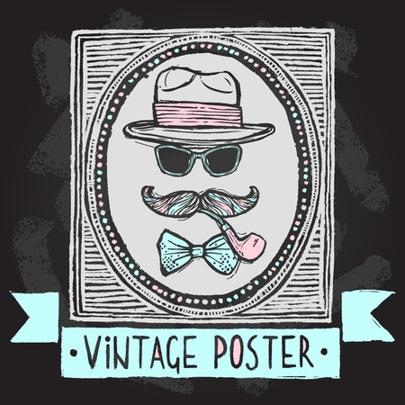 disguise: Vintage gentleman disguise set of hat sunglasses mustaches and tobacco pipe poster vector illustration