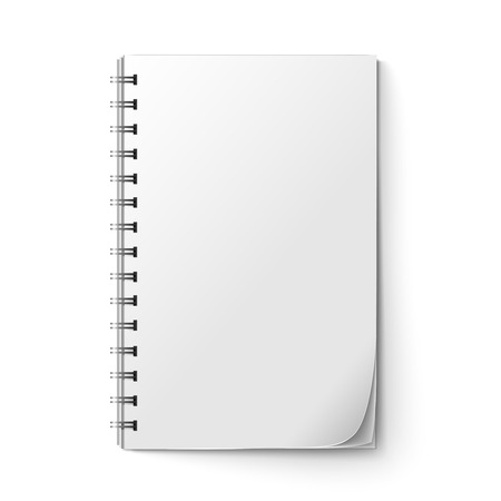 spiral pad: Realistic white blank notepad sheet isolated on white background vector illustration
