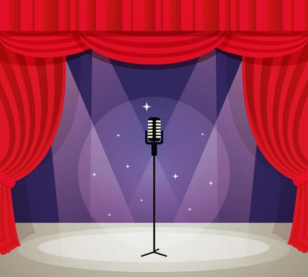 hablar en publico: Etapa con el micrófono en proyector con la cortina roja de fondo ilustración vectorial. Vectores