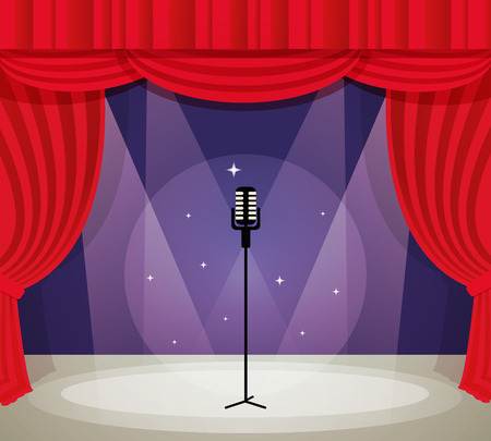 Stage with microphone in spotlight with red curtain background vector illustration. Иллюстрация