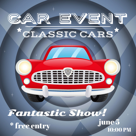 car show: Retro classic cars show event auto advertising poster vector illustration