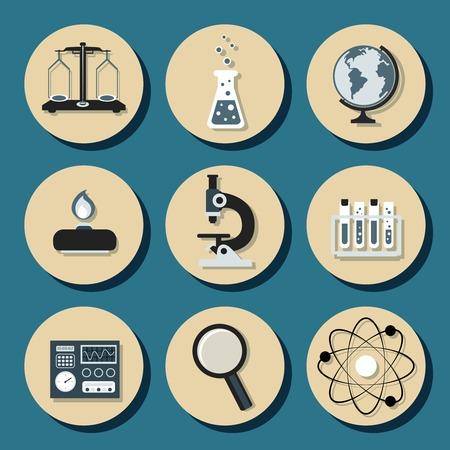 balanza de laboratorio: Química Ciencias Iconos de equipos de laboratorio establecidos con escalas matraz quemador, ilustración vectorial