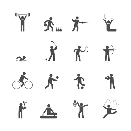 fencing: Decorative swimming boxing weihgtlifting sport symbols internet icons set silhouette graphic isolated vector illustration Illustration