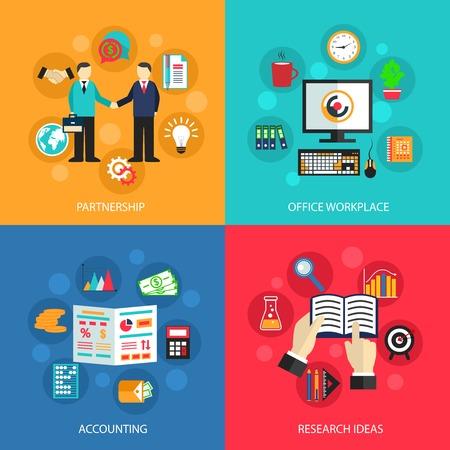 Iconos planos Concepto de negocio conjunto de ideas reunión oficina de alianzas de trabajo de contabilidad y de proyectos para la ilustración elementos de diseño de infografías web de vectores