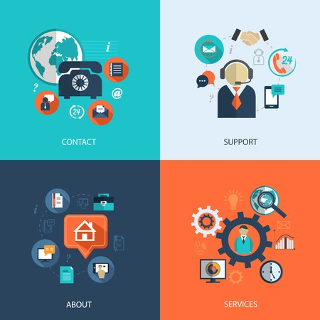 about us: Business customer care service concept flat icons set of contact us support help desk phone call and website click for infographics design web elements vector illustration Illustration