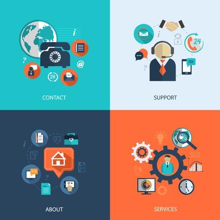 iletişim: Set İş müşteri hizmetleri kavramı düz simgeler bize Infographics tasarım, web öğeleri vektör çizim için yardım masası telefon ve web sitesi tıklama destek başvurun