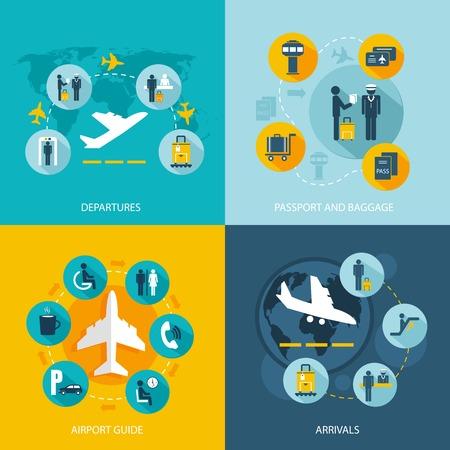 Luchthaventerminal vlucht diensten begrip vlakke pictogrammen set van aankomende passagiers vertrekken paspoortcontrole bagage controleren en openbaar vervoer voor infographics ontwerp web elementen vector illustratie