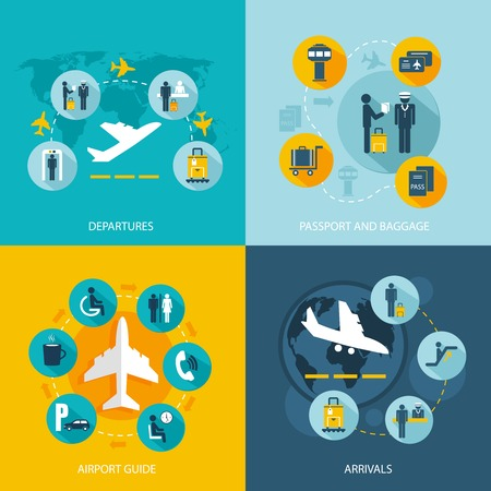 Airport terminal flight services concept flat icons set of passenger arrivals departures passport control luggage check and mass transit for infographics design web elements vector illustration Illustration