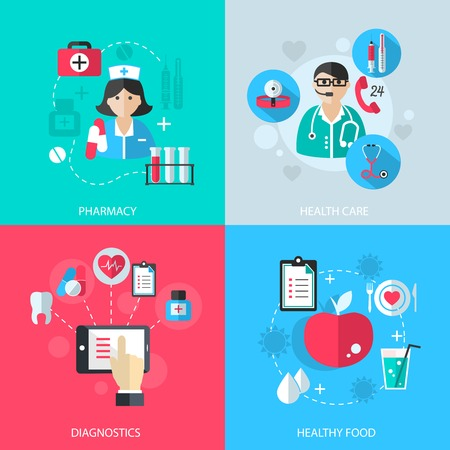Medicine healthcare services concept flat icons set of medical technology pharmacy diagnostics and healthy nutrition food for infographics design web elements vector illustration Illustration