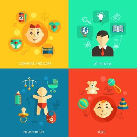 Children concept flat icons set of newly born baby comfort and care school education and toys for infographics design web elements vector illustration Ilustração