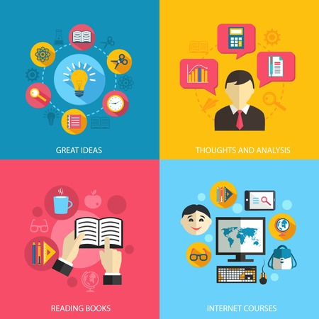 skills: Education learning concept flat icons set of great ideas books reading e-learning internet courses and research for infographics design web elements vector illustration