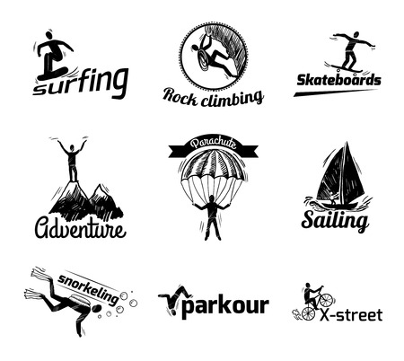 Extreme sports label sketch of diving climbing sailing isolated vector illustration Vector