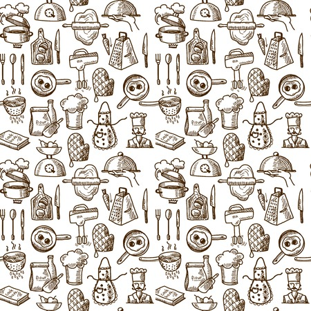 boil: Cooking process delicious food sketch icons seamless pattern vector illustration