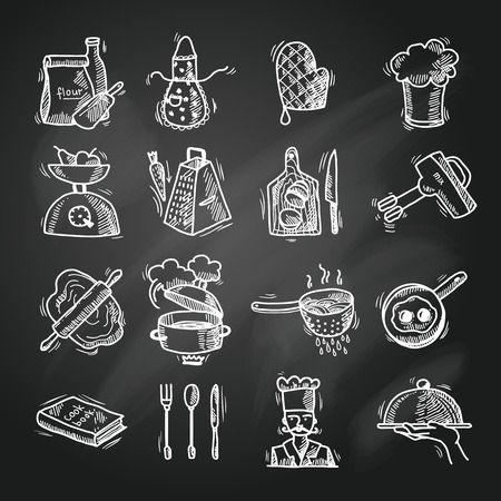 Kookproces heerlijk eten schets schoolbord pictogrammen instellen geïsoleerde vector illustratie