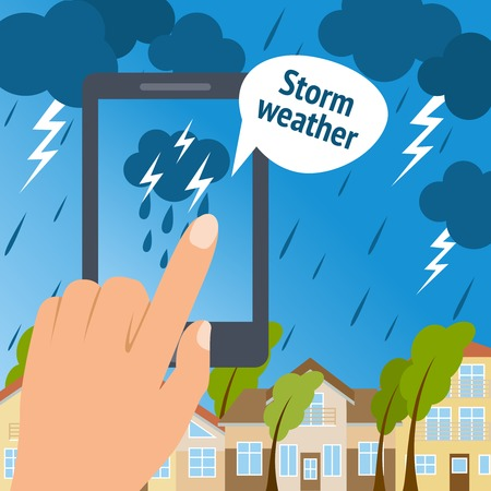 storm background: Weather forecast storm smart phone poster with rainy town background vector illustration Illustration