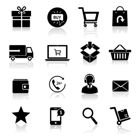 E-commerce shopping icons set of delivery support black isolated vector illustration. Vector