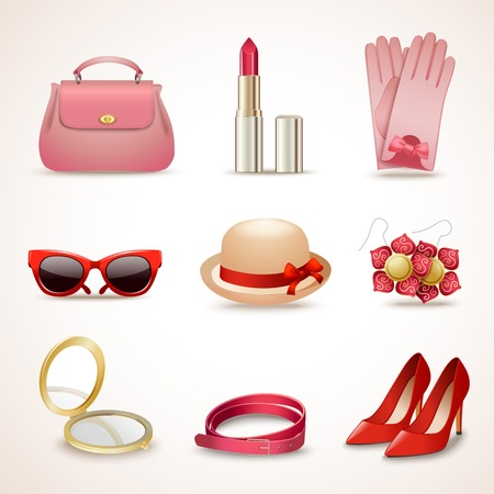Woman fashion stylish casual shopping accessory collection icons set isolated vector illustration Vector