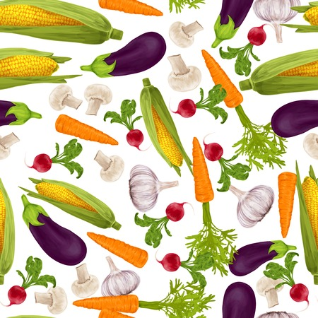 maize: Vegetable organic food realistic seamless pattern with garlic maize carrot vector illustration